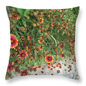 Orange Flower Garden - Throw Pillow - expressive-flower-art-goods.myshopify.com