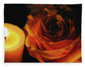 Orange Rose By Candle Light - Blanket