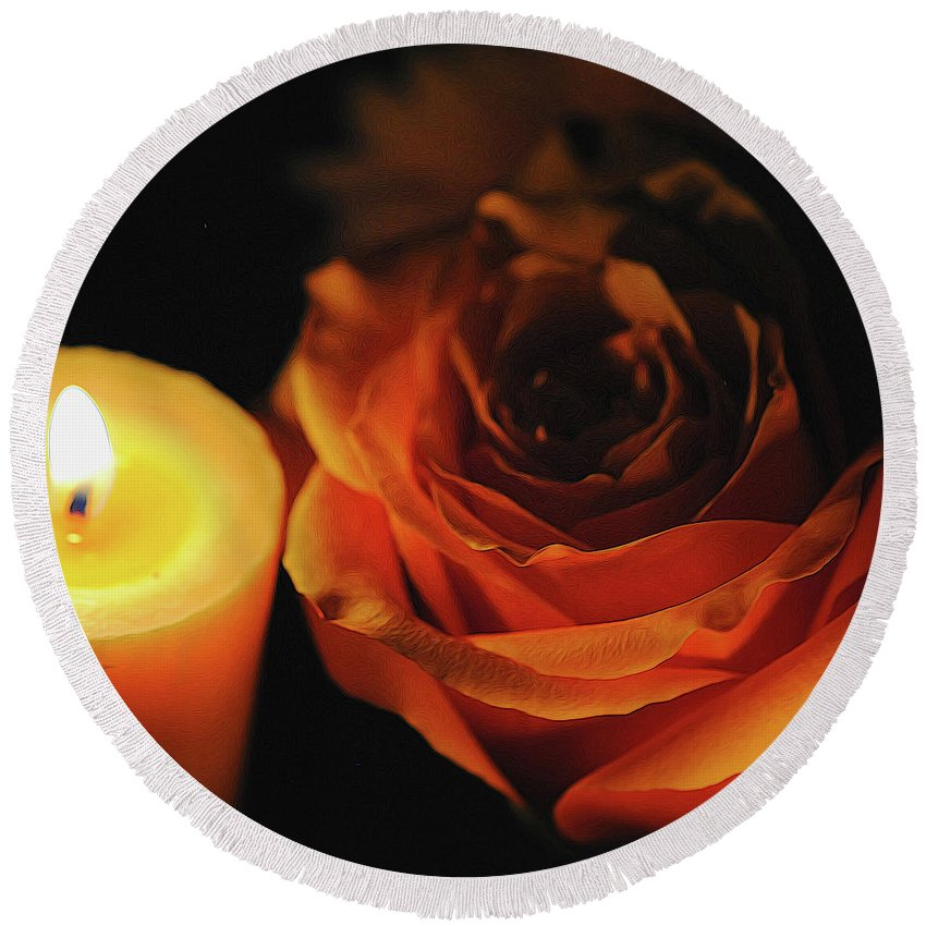 Orange Rose By Candle Light - Round Beach Towel