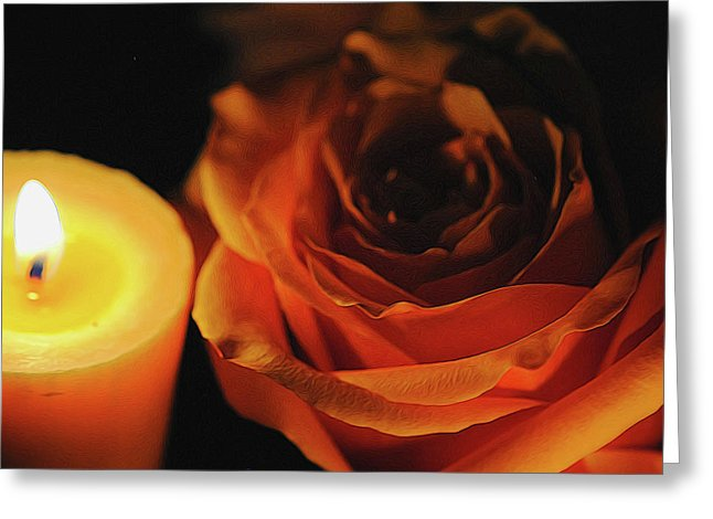 Orange Rose By Candle Light - Greeting Card