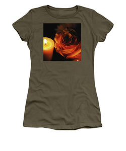 Orange Rose By Candle Light - Women's T-Shirt