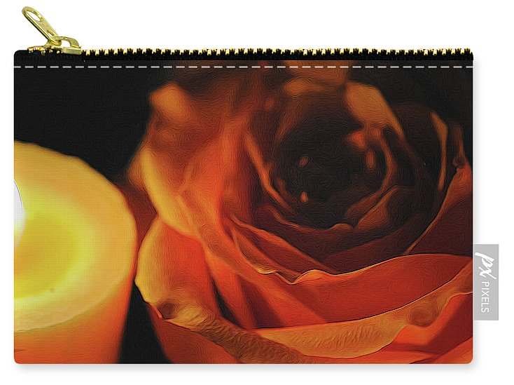 Orange Rose By Candle Light - Carry-All Pouch