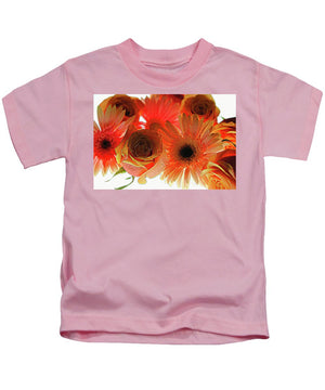 Orange Rose Pink Daisy - Kids T-Shirt