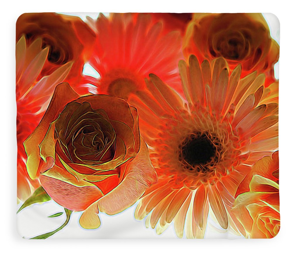 Orange Rose Pink Daisy - Blanket
