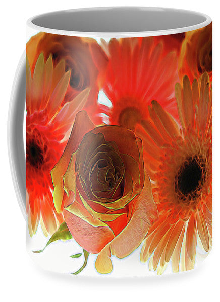 Orange Rose Pink Daisy - Mug