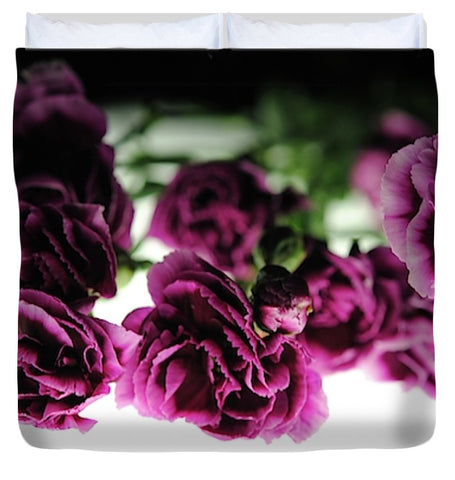 Pink And Purple Carnations On Lightbox - Duvet Cover