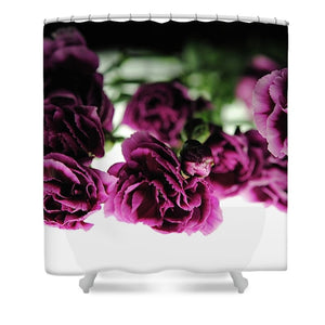 Pink And Purple Carnations On Lightbox - Shower Curtain - expressive-flower-art-goods.myshopify.com