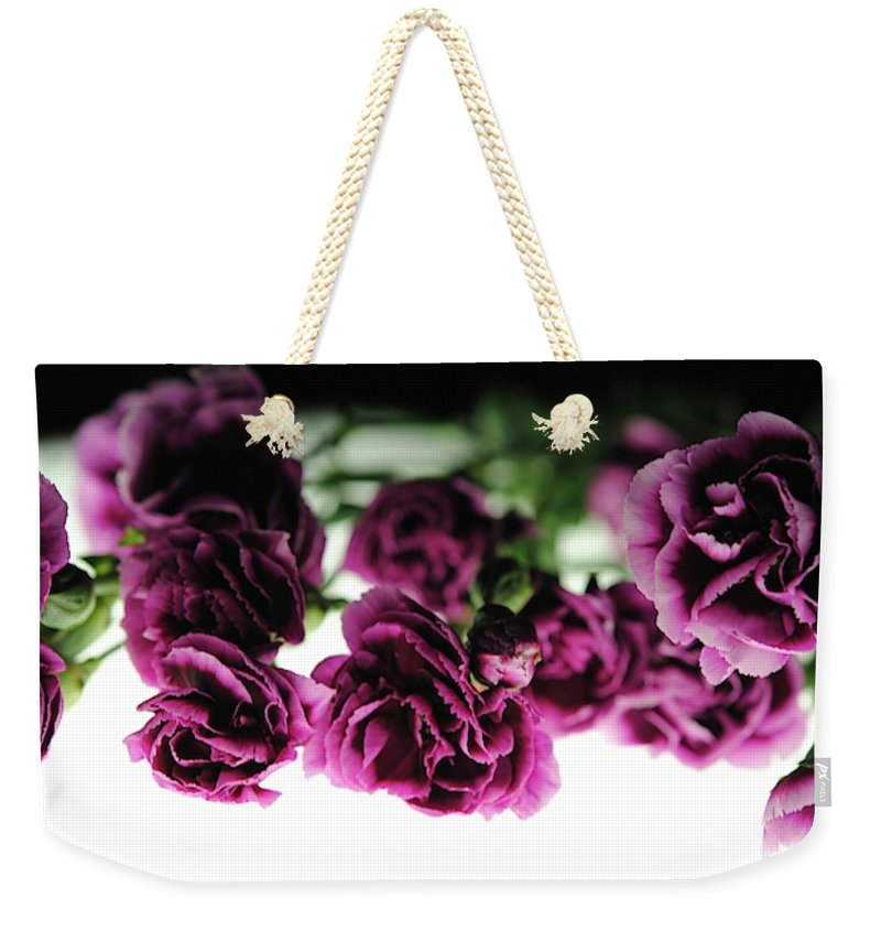 Pink And Purple Carnations On Lightbox - Weekender Tote Bag - expressive-flower-art-goods.myshopify.com