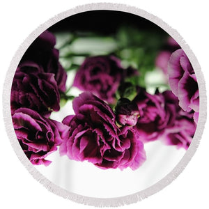 Pink And Purple Carnations On Lightbox - Round Beach Towel - expressive-flower-art-goods.myshopify.com