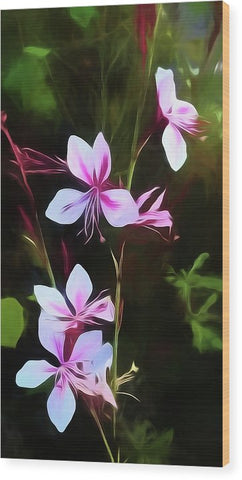 Pink And White Flower Detail - Wood Print