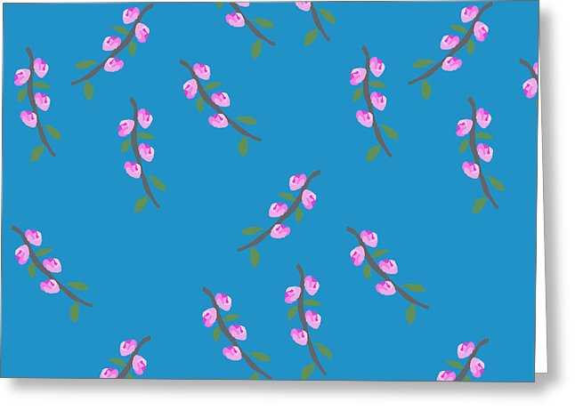Pink Flower Branches Pattern - Greeting Card