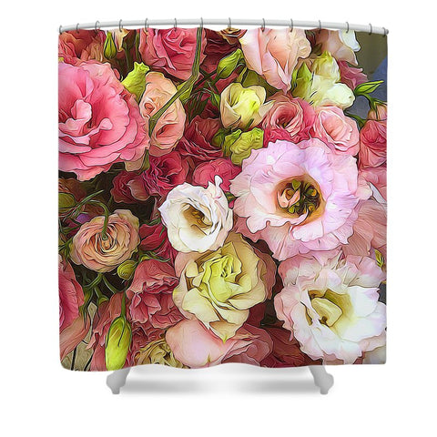 Pink Lisianthus - Shower Curtain