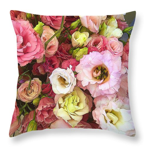 Pink Lisianthus - Throw Pillow