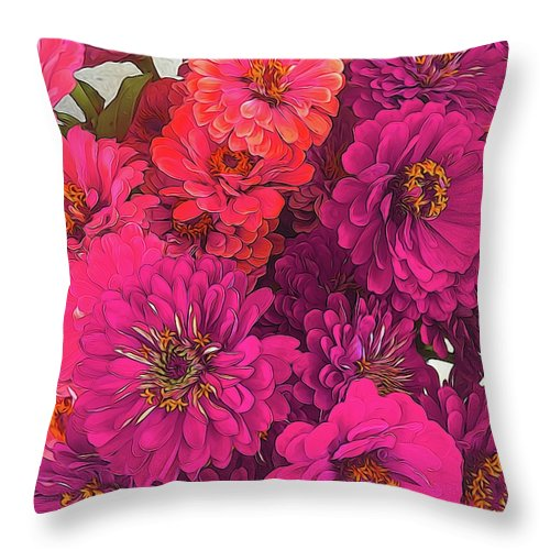 Pink Zinnias - Throw Pillow - expressive-flower-art-goods.myshopify.com