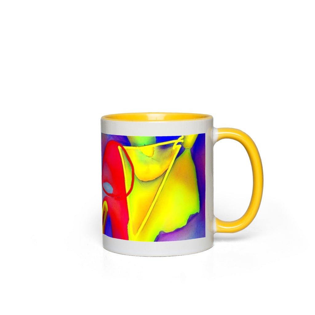 Yellow Triangles Abstract Accent Mugs
