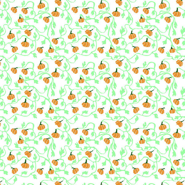 Pumpkin Vines Pattern - Art Print