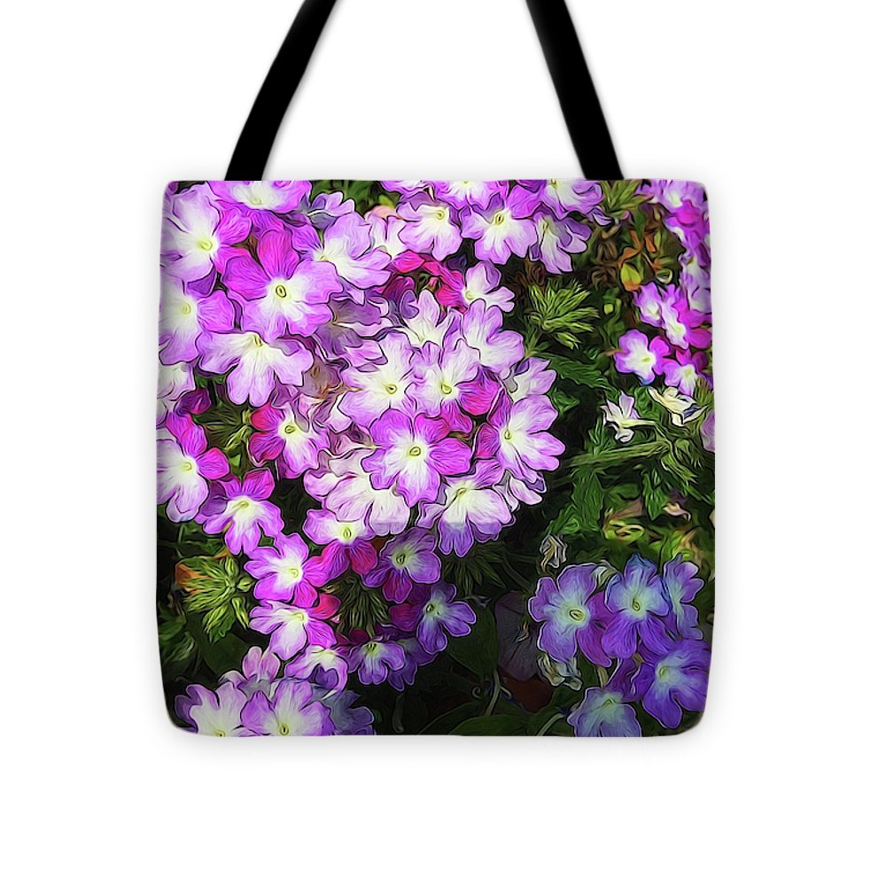 Purple And White Flowers - Tote Bag - expressive-flower-art-goods.myshopify.com
