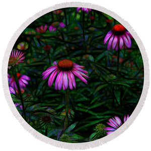 Purple Flower Garden - Round Beach Towel