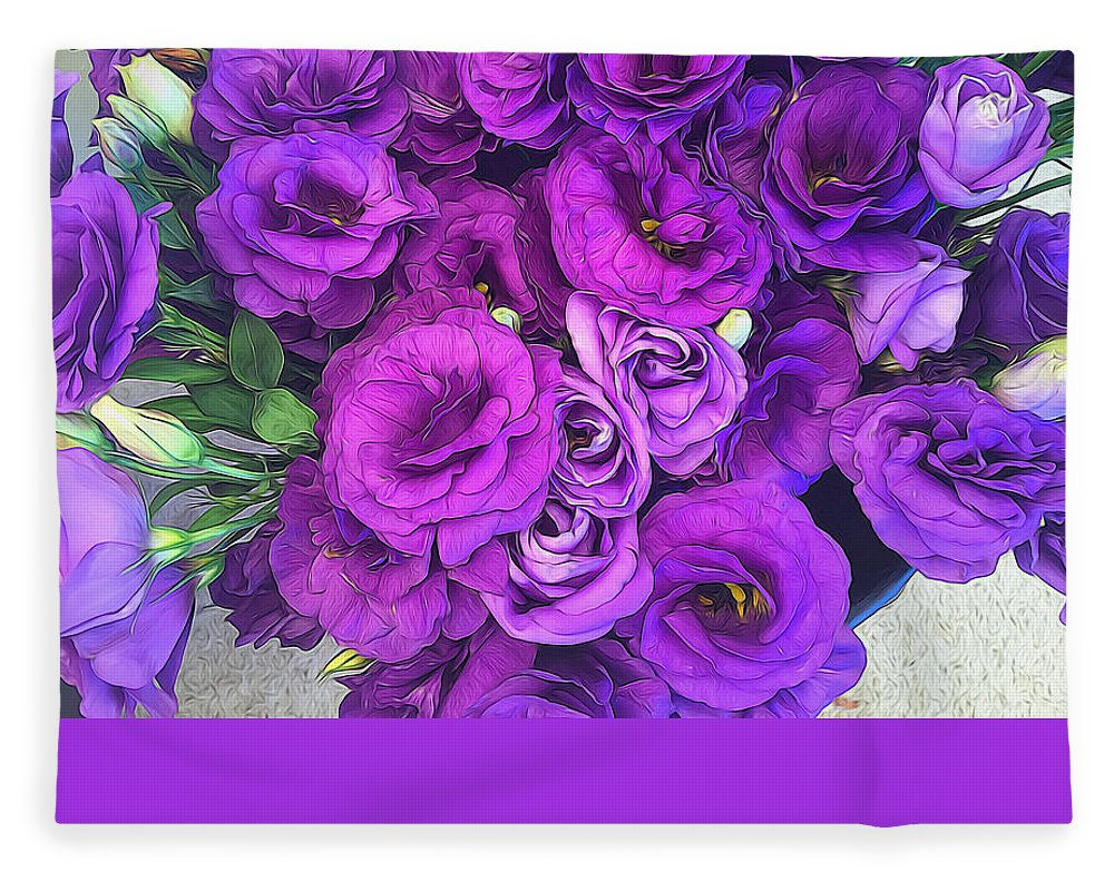 Purple Lisianthus Flowers - Blanket