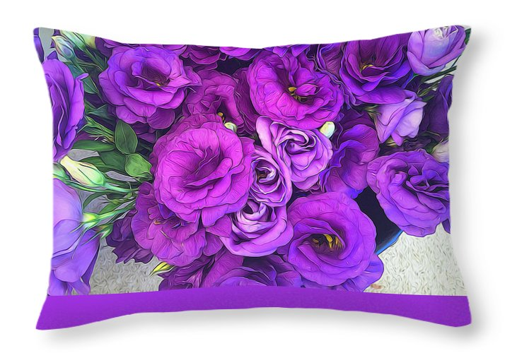 Purple Lisianthus Flowers - Throw Pillow