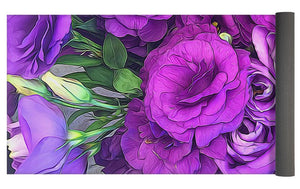 Purple Lisianthus Flowers - Yoga Mat