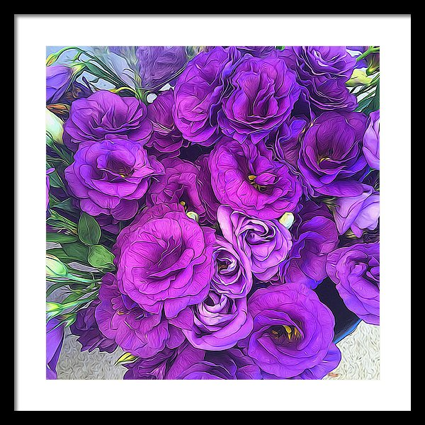 Purple Lisianthus Flowers - Framed Print