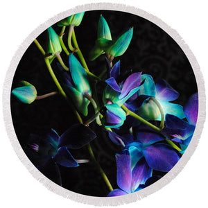 Purple Orchid Buds - Round Beach Towel
