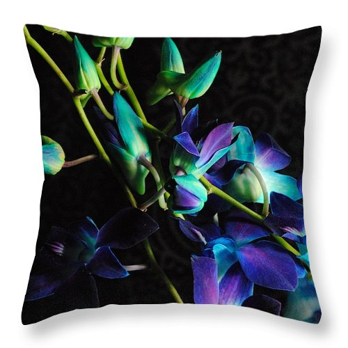 Purple Orchid Buds - Throw Pillow