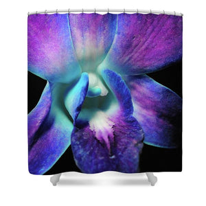 Purple Orchid Close Up On Black - Shower Curtain