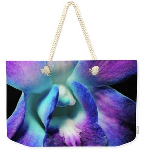 Purple Orchid Close Up On Black - Weekender Tote Bag