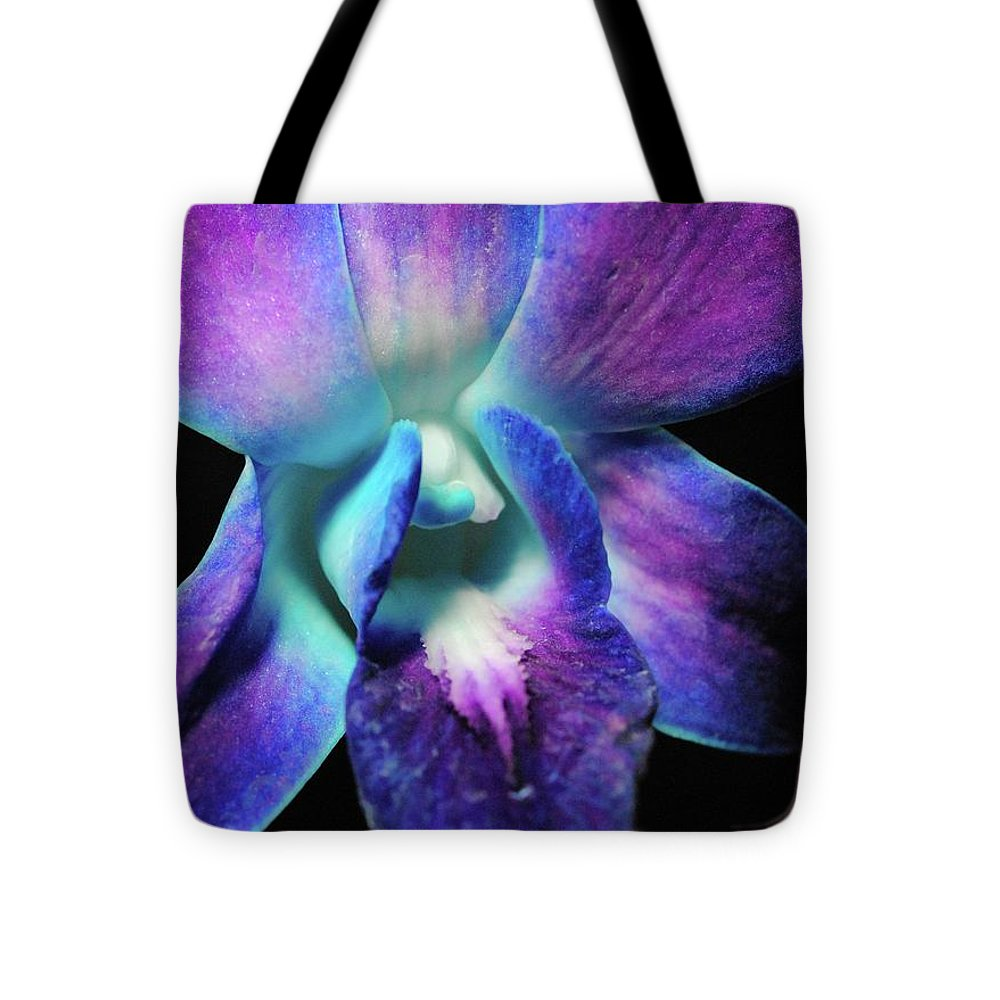 Purple Orchid Close Up On Black - Tote Bag