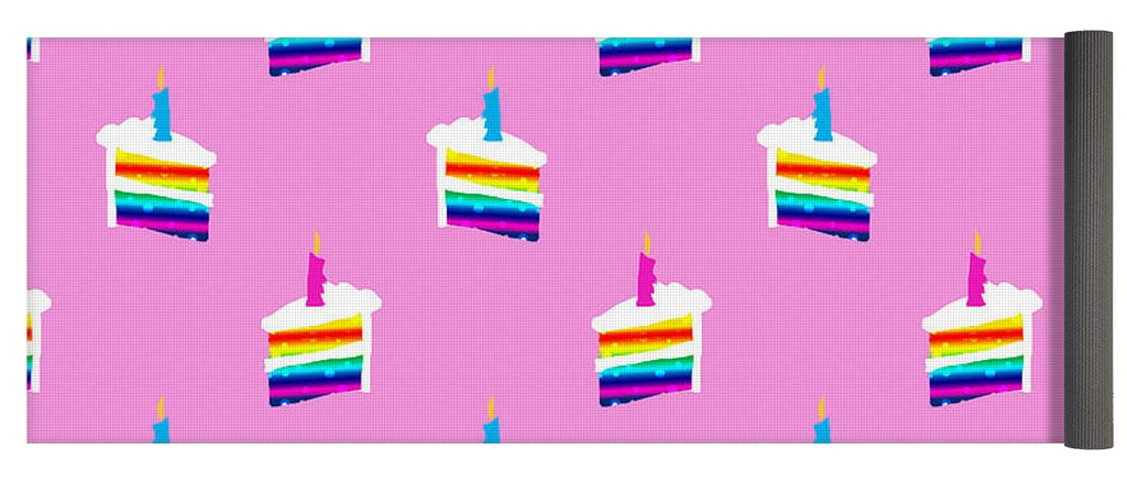Rainbow Birthday Cake Pattern - Yoga Mat