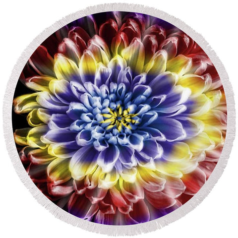 Rainbow Chrysanthemum - Round Beach Towel