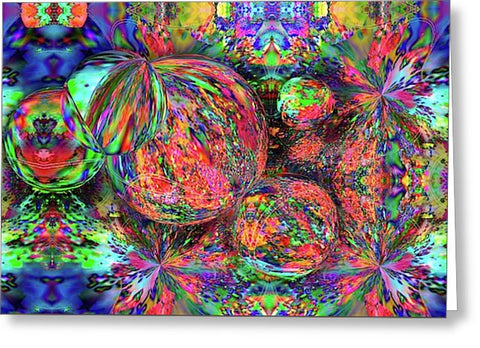 Rainbow Fractal Bubbles - Greeting Card