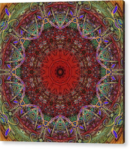 Red And Green Kaleidoscope Pattern - Acrylic Print