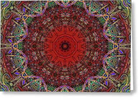 Red And Green Kaleidoscope Pattern - Greeting Card