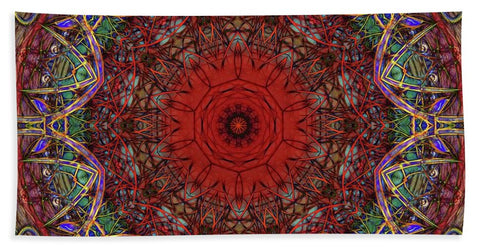 Red And Green Kaleidoscope Pattern - Beach Towel