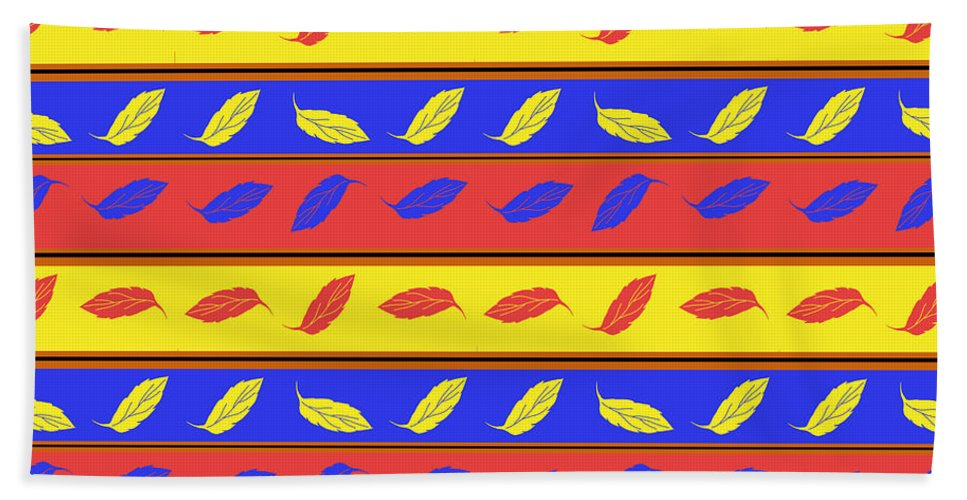 Red Blue Yellow Leaves Stripes - Bath Towel