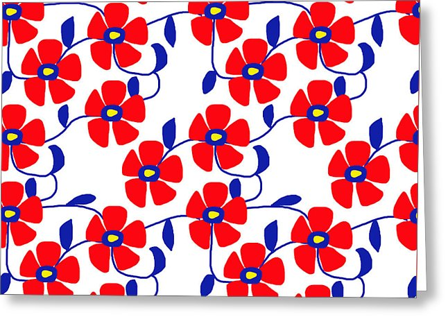 Red Flowers Blue Vines - Greeting Card
