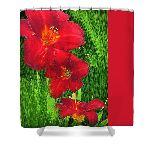 Red Lilies Green Grass - Shower Curtain