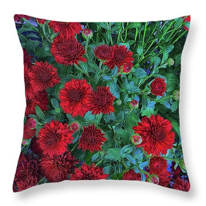Red Mums - Throw Pillow