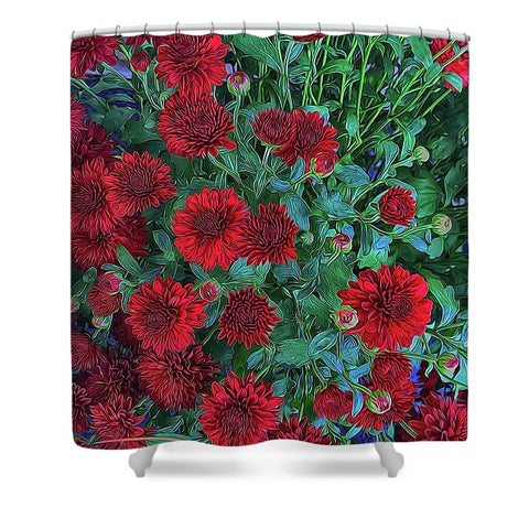 Red Mums - Shower Curtain