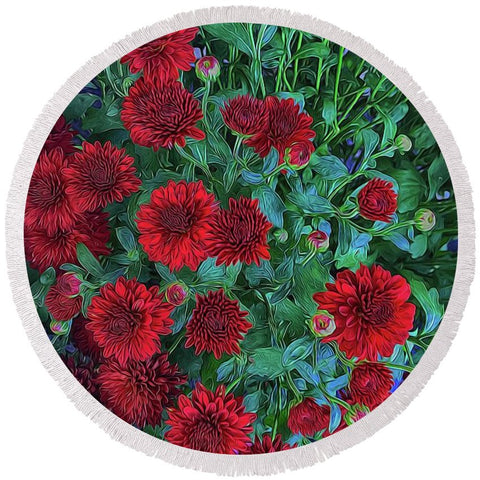 Red Mums - Round Beach Towel