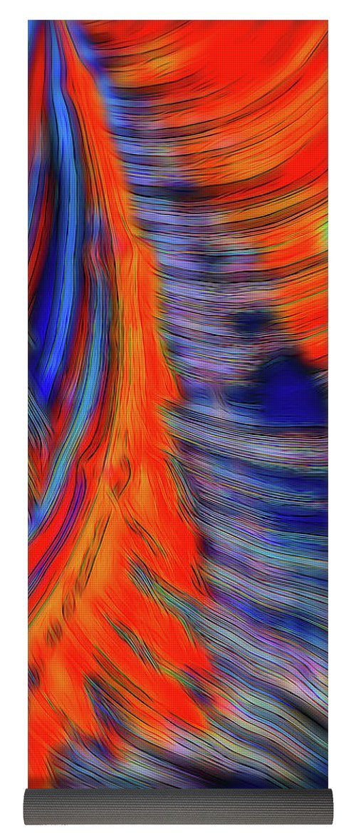 Red Orange Tie Dye Fractal Abstract - Yoga Mat