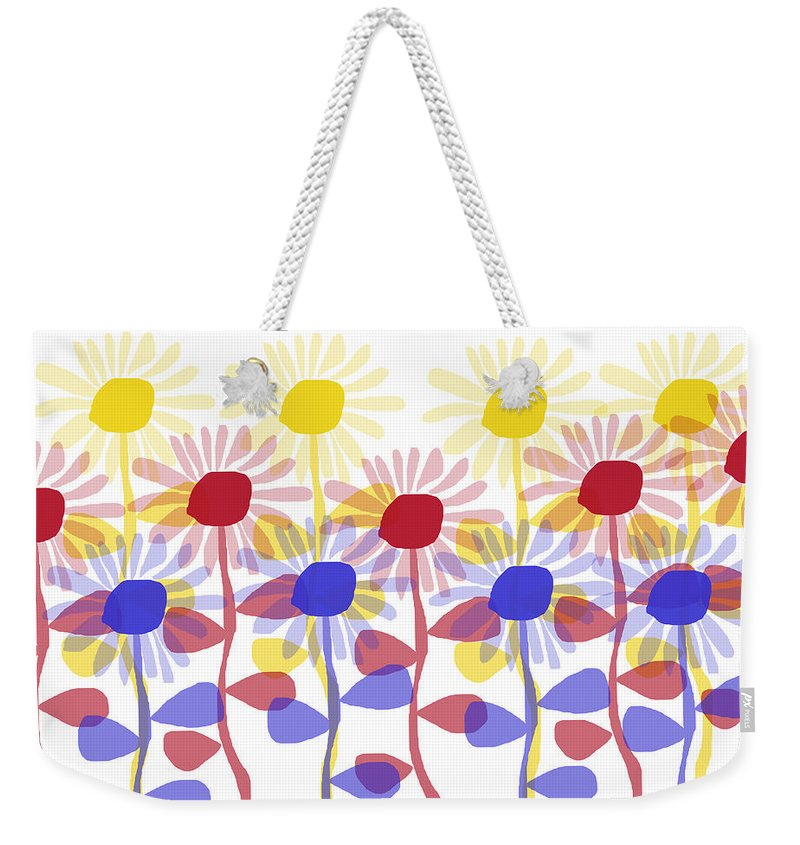 Red Yellow And Blue Sunflowers - Weekender Tote Bag