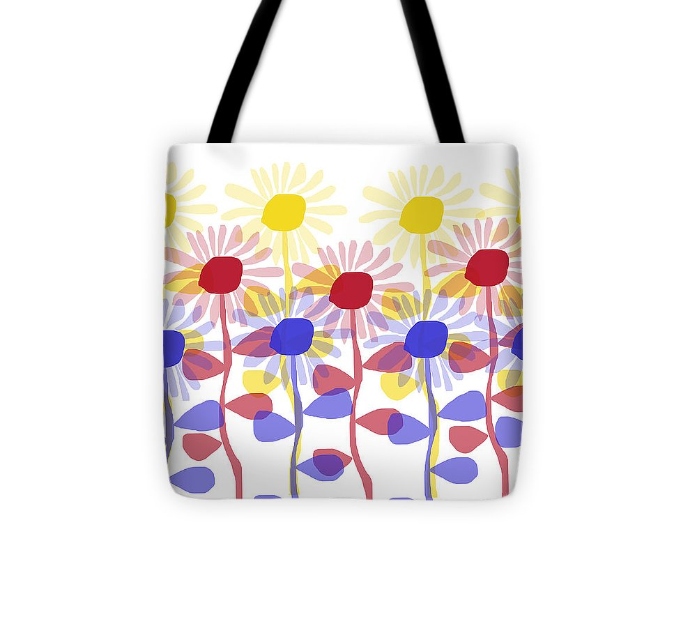 Red Yellow And Blue Sunflowers - Tote Bag