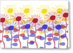 Red Yellow And Blue Sunflowers - Greeting Card