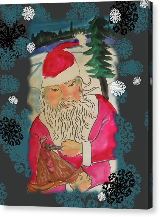 Santa Makes A Toy - Canvas Print
