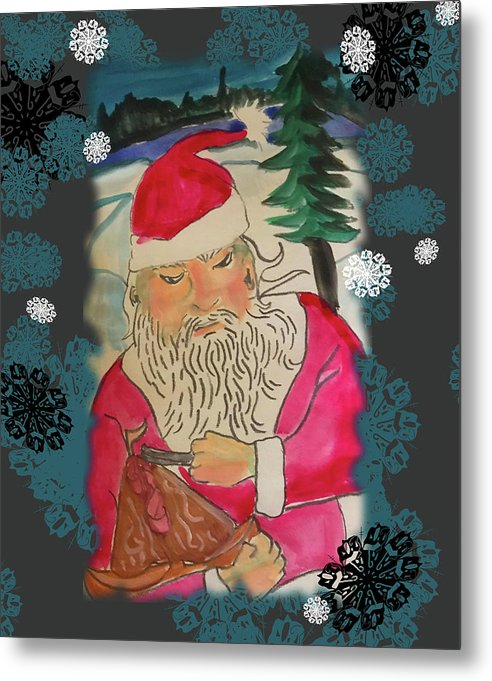 Santa Makes A Toy - Metal Print