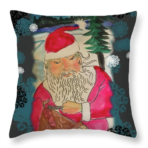 Santa Makes A Toy - Throw Pillow